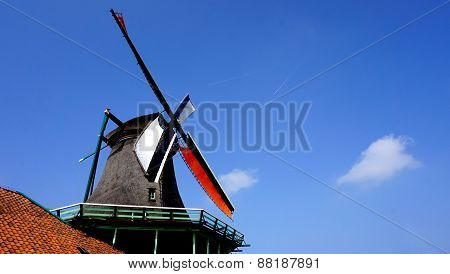 Windmills And Blue Sky In Holland