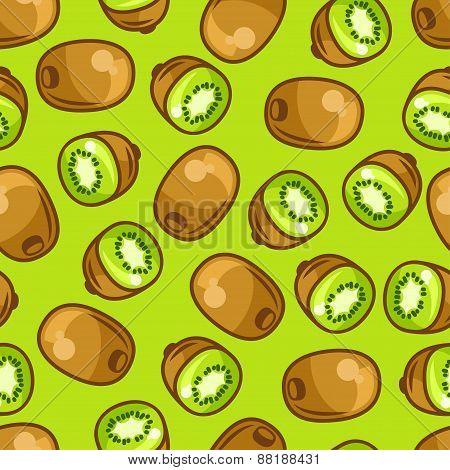 Seamless pattern with stylized fresh ripe kiwi