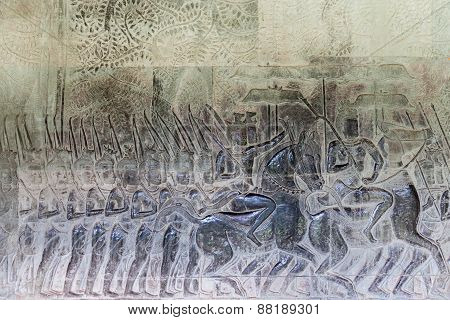 Religious carvings on the walls of Angkor Wat