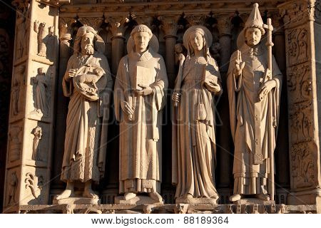 Sculptures Of The Notre Dame De Paris