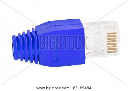 Rj45 - Single Plug Blue (side View)
