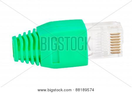 Rj45 - Single Plug Green Lime(side View)