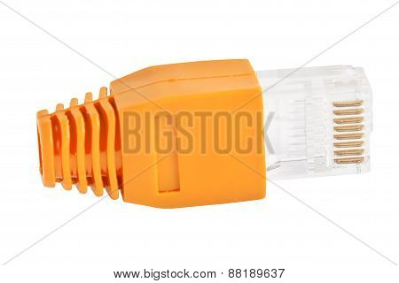Rj45 - Single Plug Orange (side View)