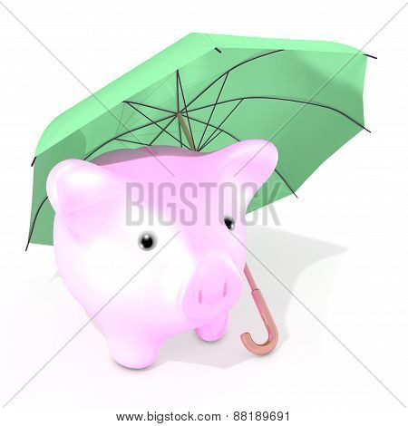 An umbrella protecting money saving