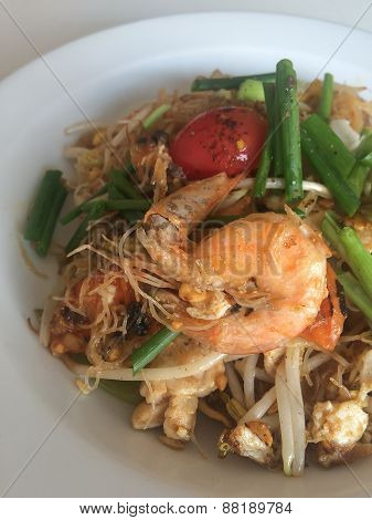 Hailand's National Dishes, Stir-fried Rice Noodles With Egg, Vegetable And Shrimp (pad Thai)