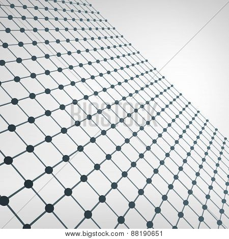 Wireframe Polygonal Element. 3D Perspective Grid With Thin Lines
