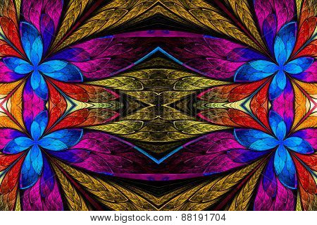 Symmetrical Flower Pattern In Stained-glass Window Style On Black. Blue, Pink And  Beige Palette. Co