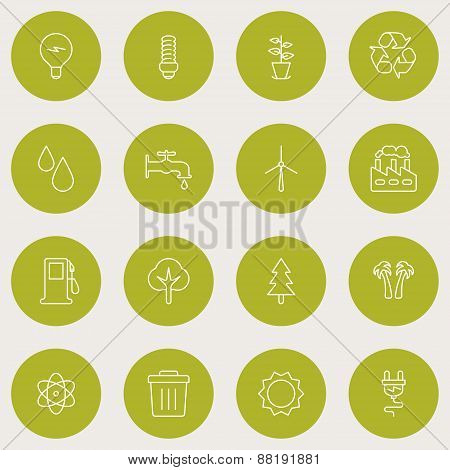 Set Of Thin Line Ecology And Environment Icons. Vector Illustration