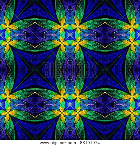 Symmetrical Flower Pattern In Stained-glass Window Style On Black. Green, Yellow And  Dark-blue Pale