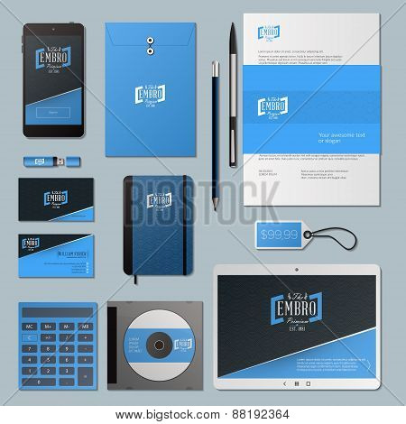 Blue Vector Corporate Identity Template Design With Logotype And Wave Background