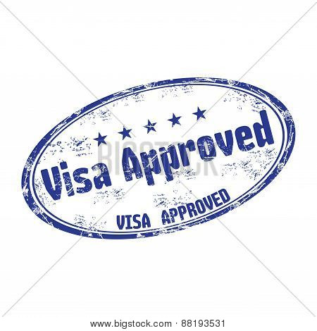 Visa approved grunge rubber stamp