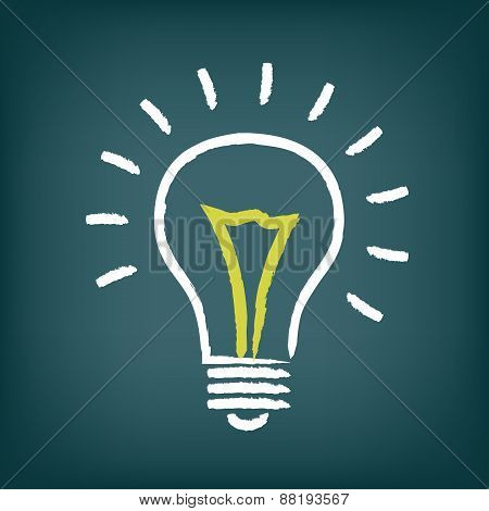 Chalk hand-drawn idea light bulb icon on gradient background.