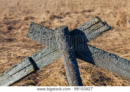 The old wooden fence in a field, Estonia