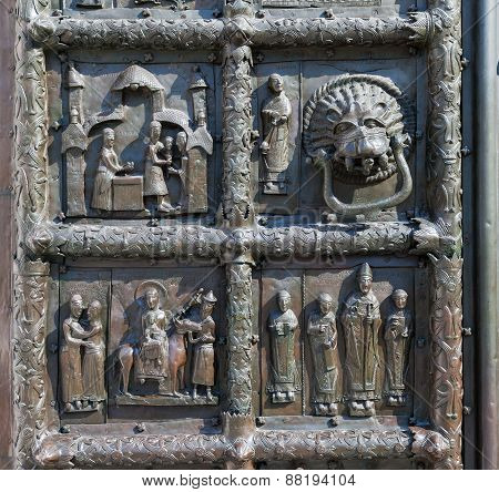 Detail Of The Bronze Gates Of St. Sophia Cathedral In Veliky Novgorod, Russia