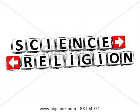 3D Science Or Religion Over White Background.