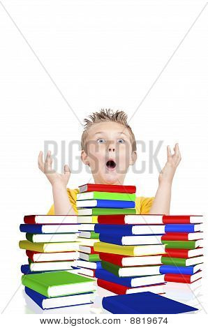 Scared Boy From School With Books In Foreground