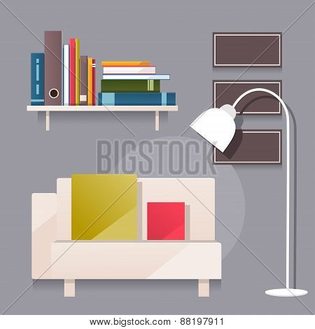 Living Room. Vector Illustration