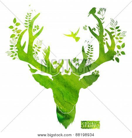 Spring deer. watercolor silhouette. vector illustration
