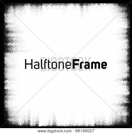 Halftone dots frame.