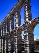 stock photo of aqueduct  - View of famous aqueduct of Segovia Spain - JPG