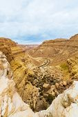 picture of ravines  - landscape ravine from a height in the desert - JPG