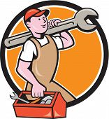 stock photo of overalls  - Illustration of a mechanic in overalls and hat holding spanner wrench on shoulder and carrying toolbox facing side set inside circle on isolated background done in cartoon style - JPG