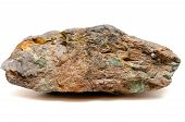 stock photo of ore lead  - a big ore sample of silver copper and gold on a black background - JPG