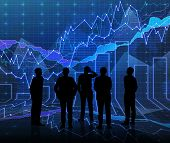 stock photo of siluet  - An abstract Forex graph room in blue with people siluet - JPG