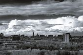 picture of spring-weather  - Moscow aerial infrared panorama at stormy spring weather - JPG