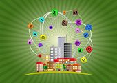 picture of suburban city  - illustration of colorful urban city with multimedia icon - JPG