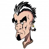 picture of mohawk  - weird face with mohawk cartoon illustration - JPG