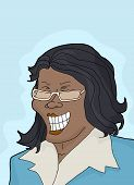 picture of hysterics  - Beautiful laughing businesswoman with eyeglasses over blue - JPG