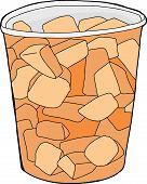 stock photo of cantaloupe  - Chunks of cut cantaloupe inside plastic cup - JPG