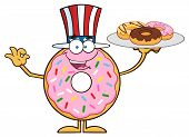 stock photo of donut  - American Donut Cartoon Character Serving Donuts - JPG