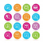 stock photo of emoticons  - set of 16 emoticon icons in colorful buttons - JPG
