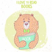 picture of cute bears  - Stylish card with funny and cute cartoon bear with book - JPG