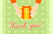 stock photo of give thanks  - Thank You card with a hands giving a gift - JPG