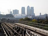 picture of hsbc  - View from a Docklands Light Railway station of Canary Wharf in Docklands and the Millennium Dome - JPG