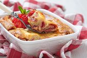 stock photo of crepes  - Strawberry crepes roll baked with cheesecake sauce - JPG