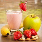 foto of fruit shake  - Strawberry smoothie refreshing fruit meal  - JPG