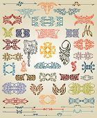 foto of art nouveau  - big set pattern element art nouveau color - JPG
