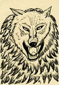 foto of silkscreening  - Grunge sketch of an abstract wolf hand drawn illustration - JPG
