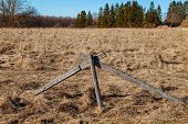 pic of log fence  - The old wooden fence in a field - JPG