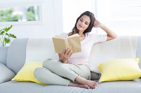 pic of couch  - Smiling beautiful brunette relaxing and reading a book on the couch in the living room - JPG