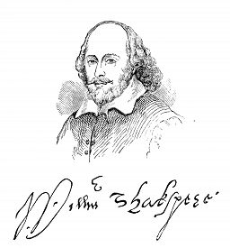 picture of william shakespeare  - An engraved illustration image of the Elizabethan playwright William Shakespeare and his signature - JPG