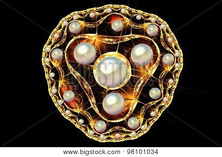 Fractal Illustration Of A Gold Brooch With Pearls
