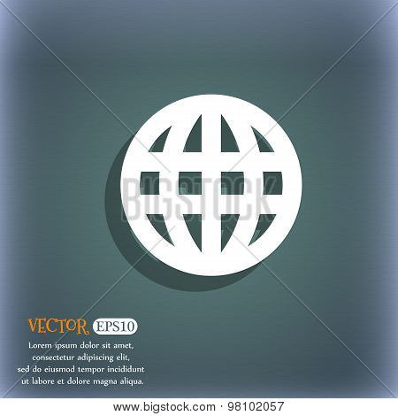 Globe, World Map Geography  Icon Symbol On The Blue-green Abstract Background With Shadow And Space