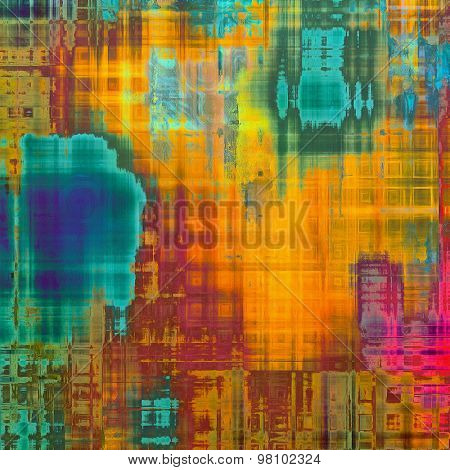 Old grunge background with delicate abstract texture and different color patterns: yellow (beige); brown; blue; purple (violet); green