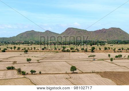 Paddy fields barren and empty