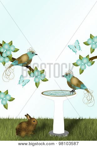 Gold and Teal Flowers and Birds